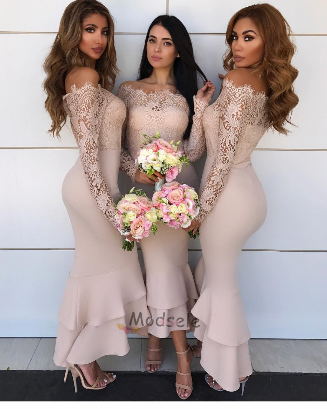 6fa696ba60d Sexy Peach Bridesmaid Dress with Long Sleeves · modsele · Online ...