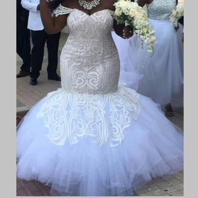 African Plus Size Wedding Dresses Major Beads Sequins Lace Appliques  Mermaid Wedding Dress Off The Shoulder Tulle Lace Up Back Bridal Gowns from  ...