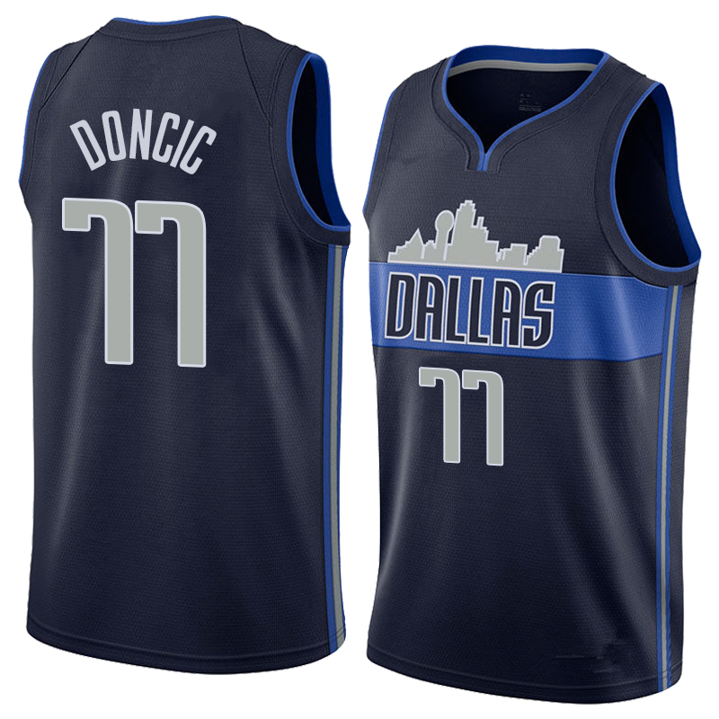 Men s Dallas Mavericks 77 Luka Doncic Navy Basketball Jersey ... fea51b036