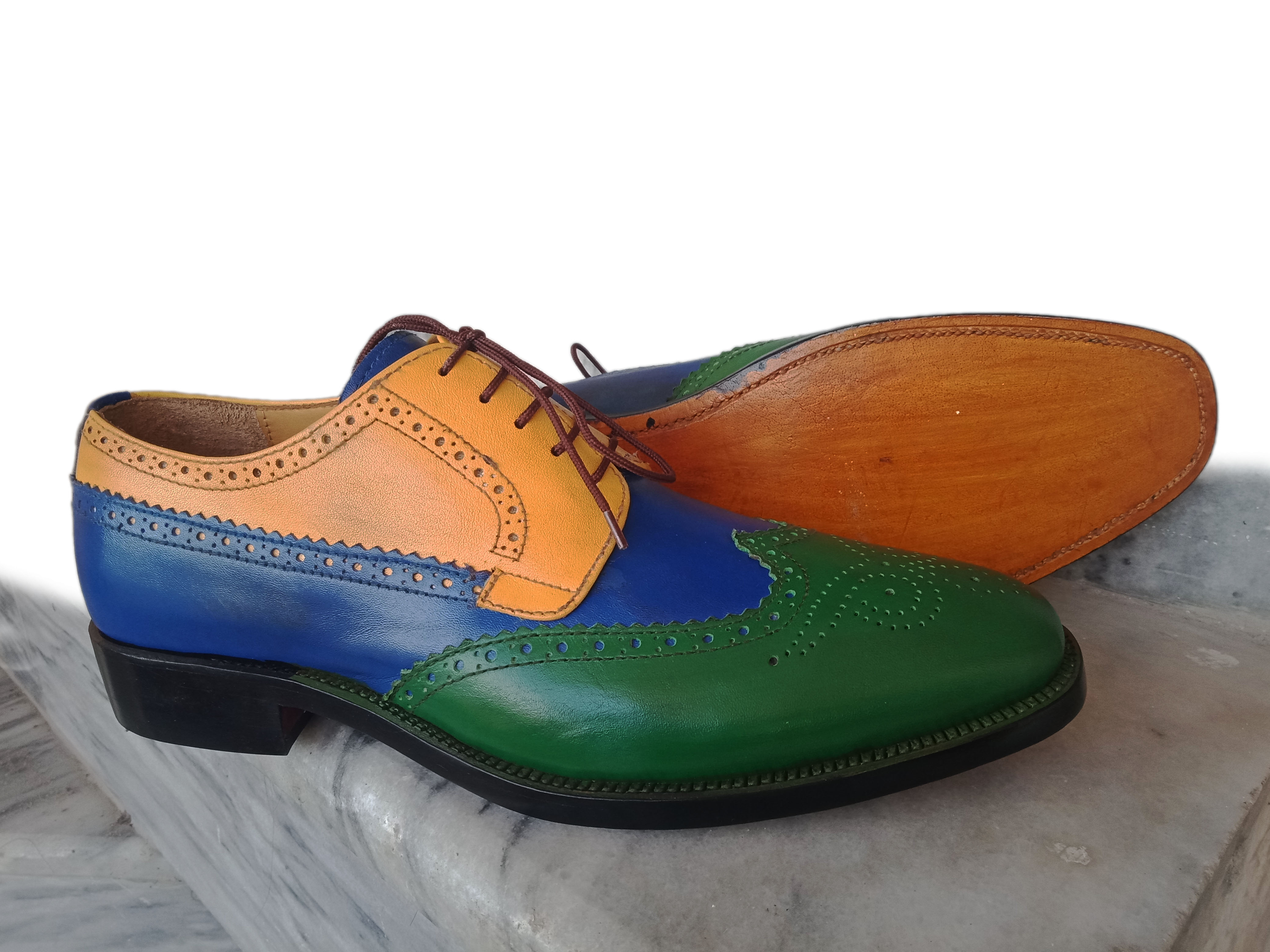 2fa4a625842 Handmade wing tip Multi Color Shoes