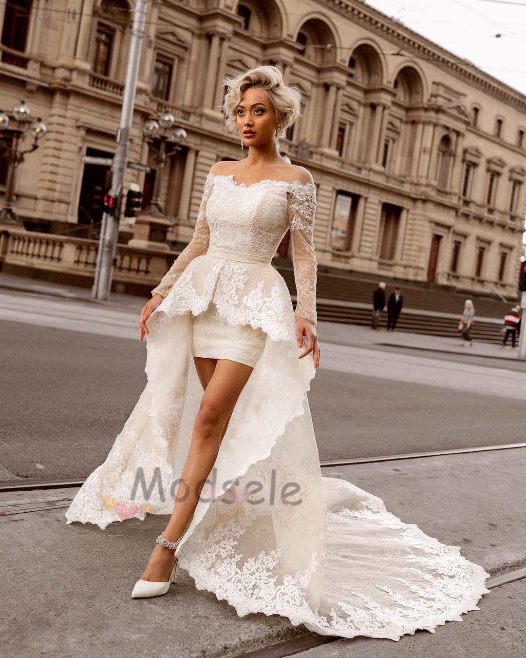 Elegant Off Shoulder Ivory Wedding Dress With Train: Long Cream Wedding Dresses At Websimilar.org