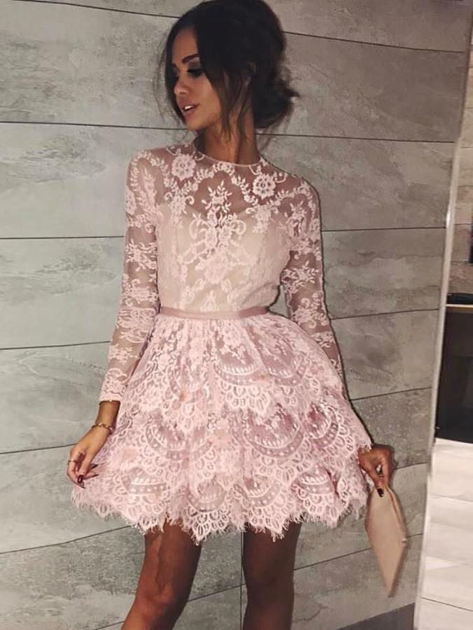 9448c2f8636 A-line Scoop Long Sleeve Short Prom Dress With Lace Pink Homecoming Dress  on Storenvy