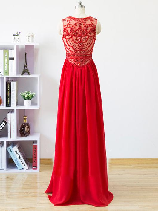 64a294b5cd9 Chic A-line Scoop Chiffon Red Beading Modest Long Prom Dress Evening ...