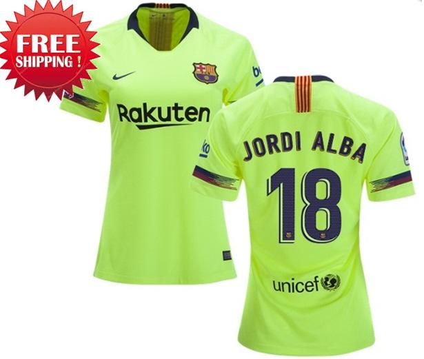 Jordi Alba  18 FC Barcelona Away Jersey Women s Kit Stadium 18-19 67870b9161