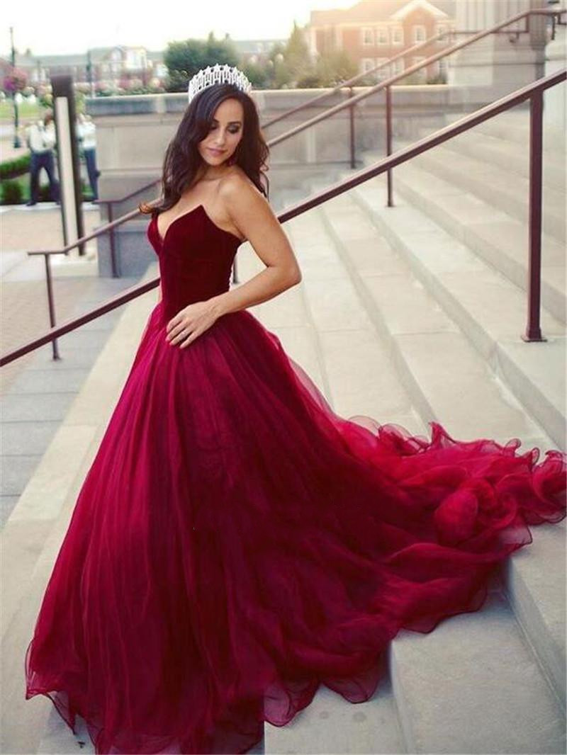 Strapless Burgundy Prom Dresses Cheap Plus Size Maroon Quinceanera Dresses  from Show By Style