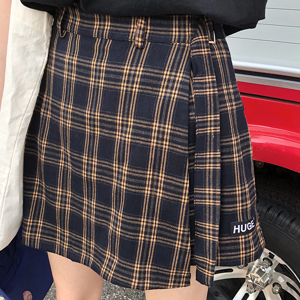 22a0918a8cbbe3 Belted Asymmetrical Plaid Skirt (3 Colors) · Megoosta Fashion · Free ...
