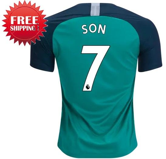 4f6fc318e Son Heung-min  7 Tottenham Hotspur 18 19 Third Jersey Men Shirt Green