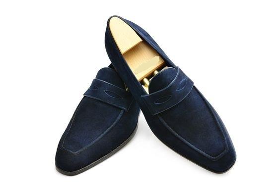 df8d7046e18cc Handmade Men,s Original Navy Blue Suede Loafers Slip Ons Shoes for Men's -  Thumbnail ...