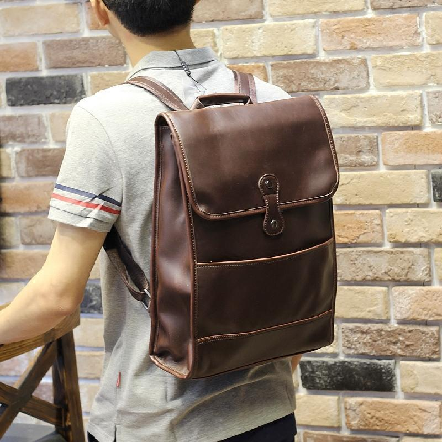 New fashion men PU leather backpack high quality men s travel bags preppy style  men school bags c514b6d69a5e1