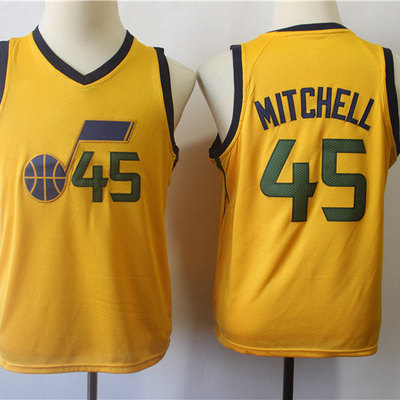 003b420840f Youth utah jazz donovan mitchell fanatics branded gold fast break jersey - statement  edition