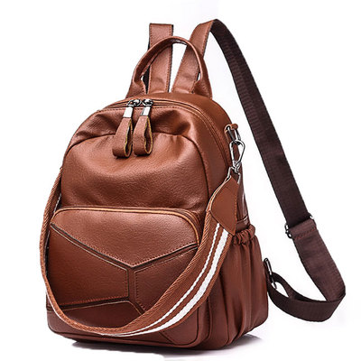 Leisure leather multi-function pu large brown shoulder bag school backpack  - Thumbnail 1 319d9d8bf39cd