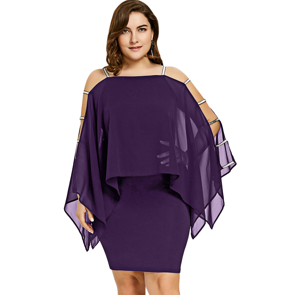 Women Plus Size Dress Ladder Cut sleeve PURPLE Sheer Sheath Pencil Dresses  sold by JAEfashions