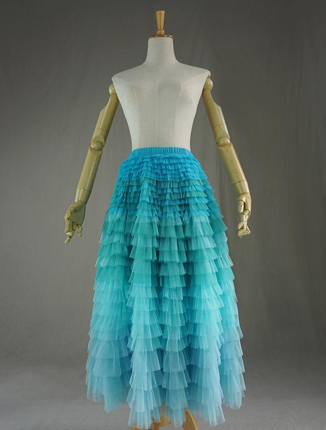 1d1fc5154 AQUA Tiered Tulle Wedding Skirt Women AQUA Blue High Waist Wedding Tulle  Skirts Tiered Party Skirt