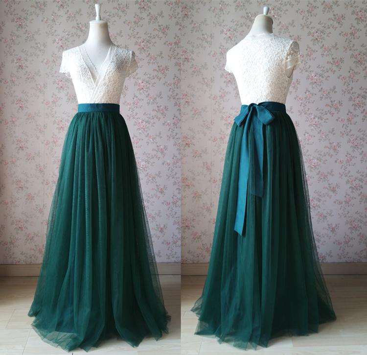 d08da8a19d Dark Green Floor Length Tulle Skirt Green Wedding Bridesmaid Skirt with Bow  knot Princess Skirt