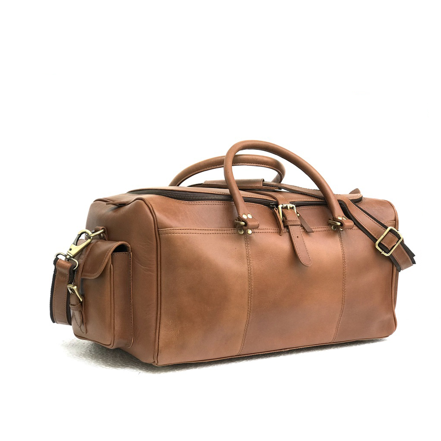 b9d766b8dd93 Zakara Genuine TAN Leather Weekend Bag