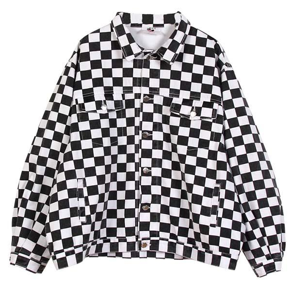 a8ab9d24e Checkered Jean Jacket from Drew's Closet
