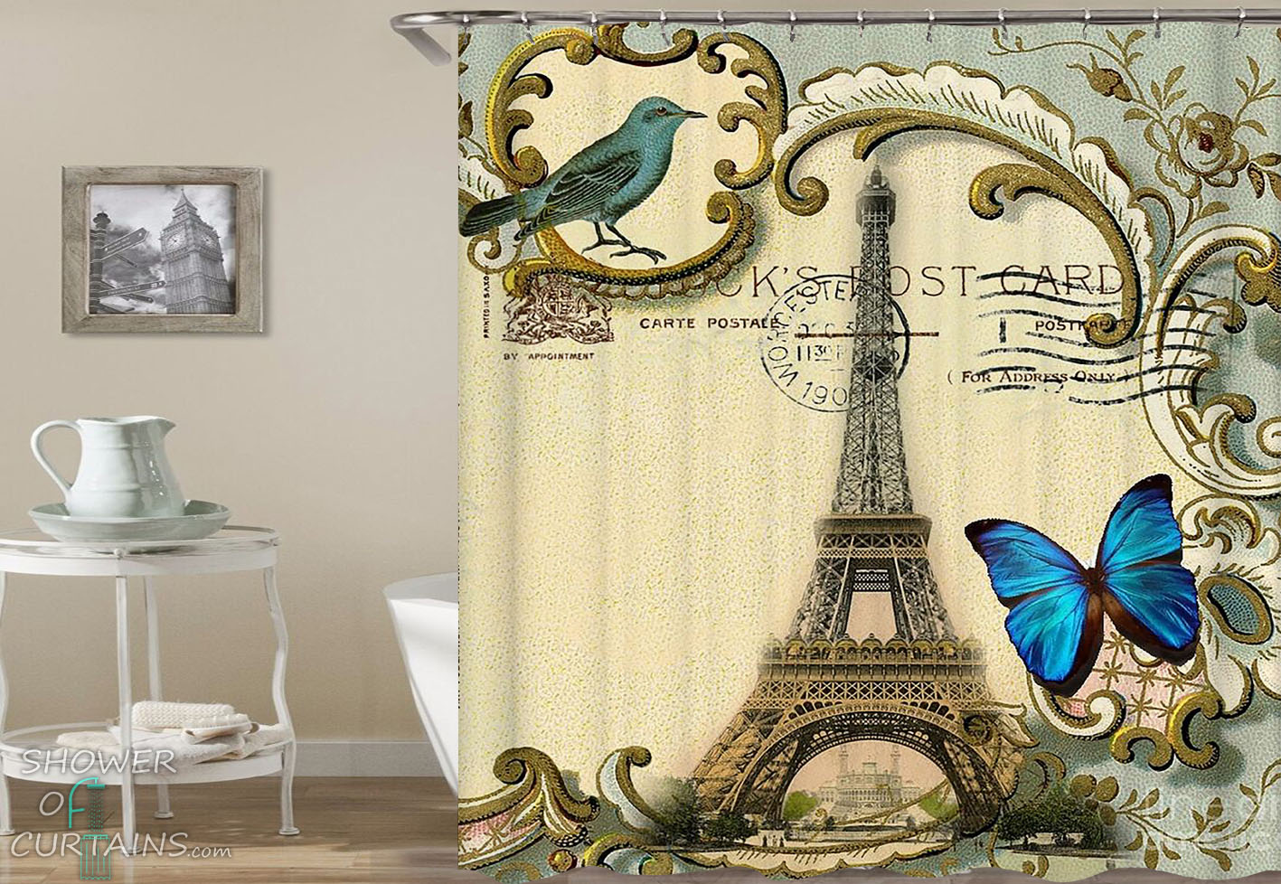 Eiffel Tower Postcard Shower Curtain Hxtc0811 Sold By Shower Of Curtains