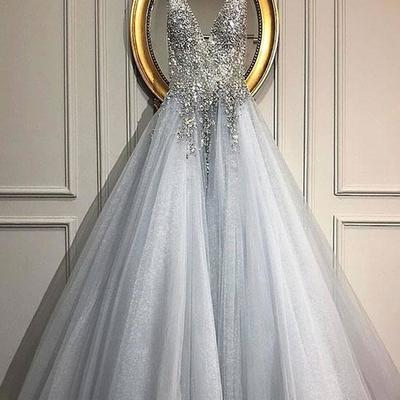 d15d4ca63a5 Bling gray long prom dresses v neck evening dresses with beading