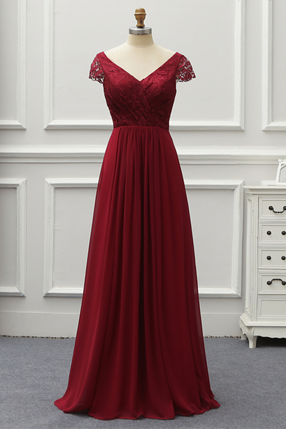 6dac9aada86 Two Pieces Burgundy Chiffon Long Prom Dress Evening Dress
