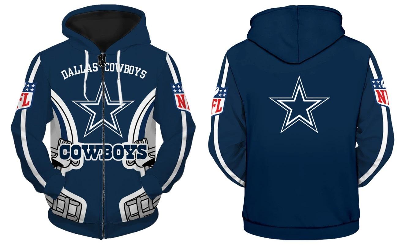 separation shoes 4b16d 98a60 Dallas Cowboys NFL Zip Up Hoodie Sweatshirt