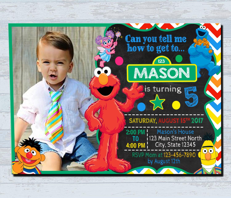 Birthday Invitations Personalized Invitation Sesame Street Card