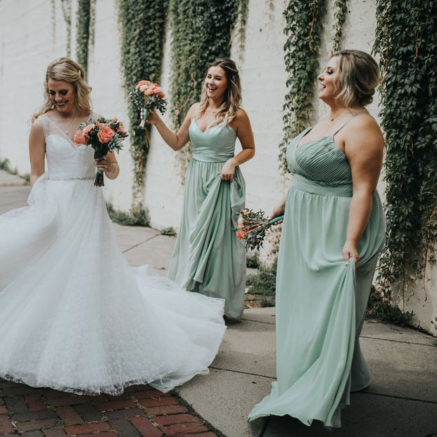 Mismatch Plus Size Sage Spaghetti Straps Floor Length Bridesmaid Dresses  from dressydances