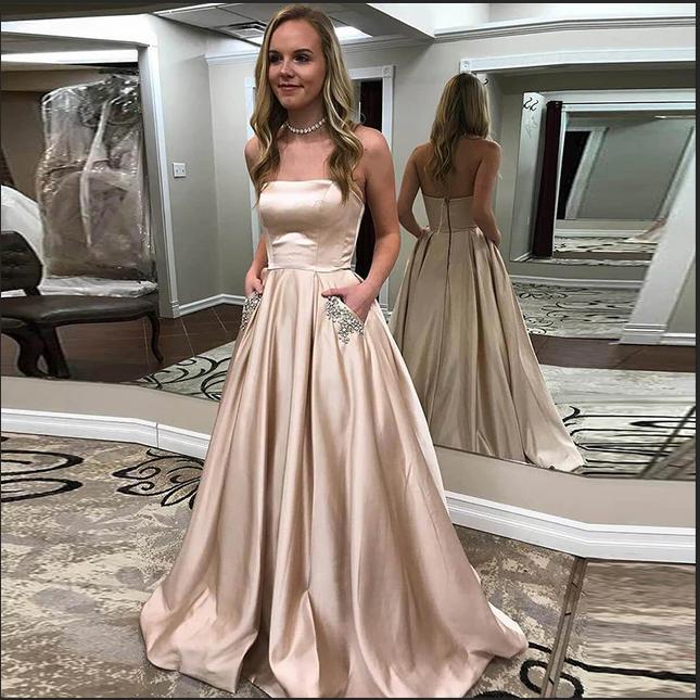 5f7b12b817 Fashion Strapless A Line Elegant Long Prom Dresses Formal Fancy Grad Dress  With Pocket Evening Gowns on Storenvy