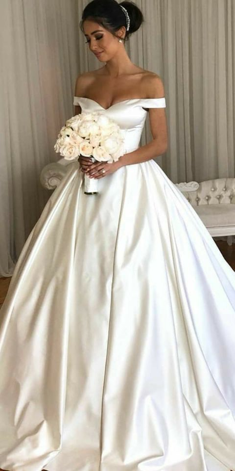 e8edfb83fbde Simple White Off-Shoulder Wedding Dress,Beauty Bridal Ball Gown,Cheap  Evening Dress