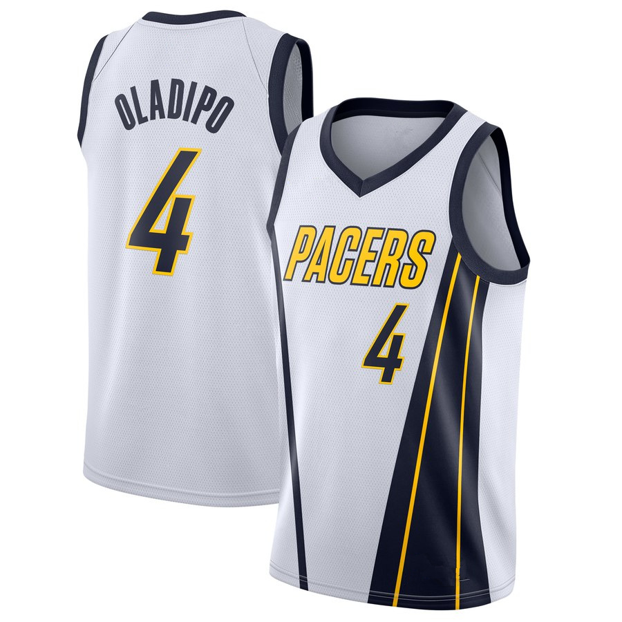 Men s Indiana Pacers  4 Victor Oladipo White 2018 19 Earned Edition Jersey 8625a0749