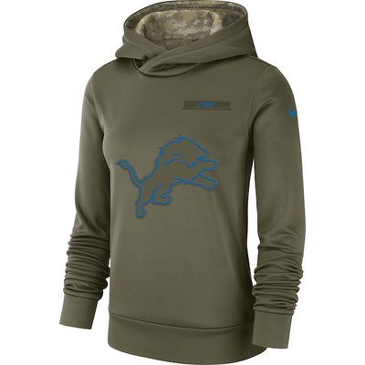 147e60bdd Women's detroit lions olive salute to service team logo performance  pullover hoodie - Thumbnail 3