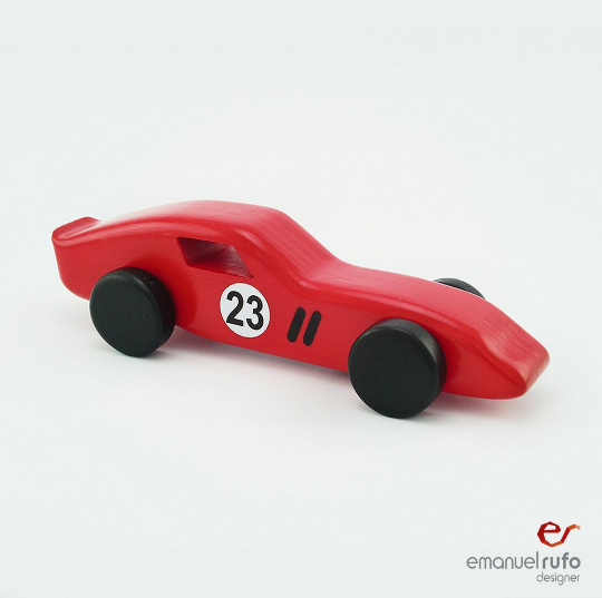Red Wooden Toy Car Wooden Car For Kids Boys Classic Race Car