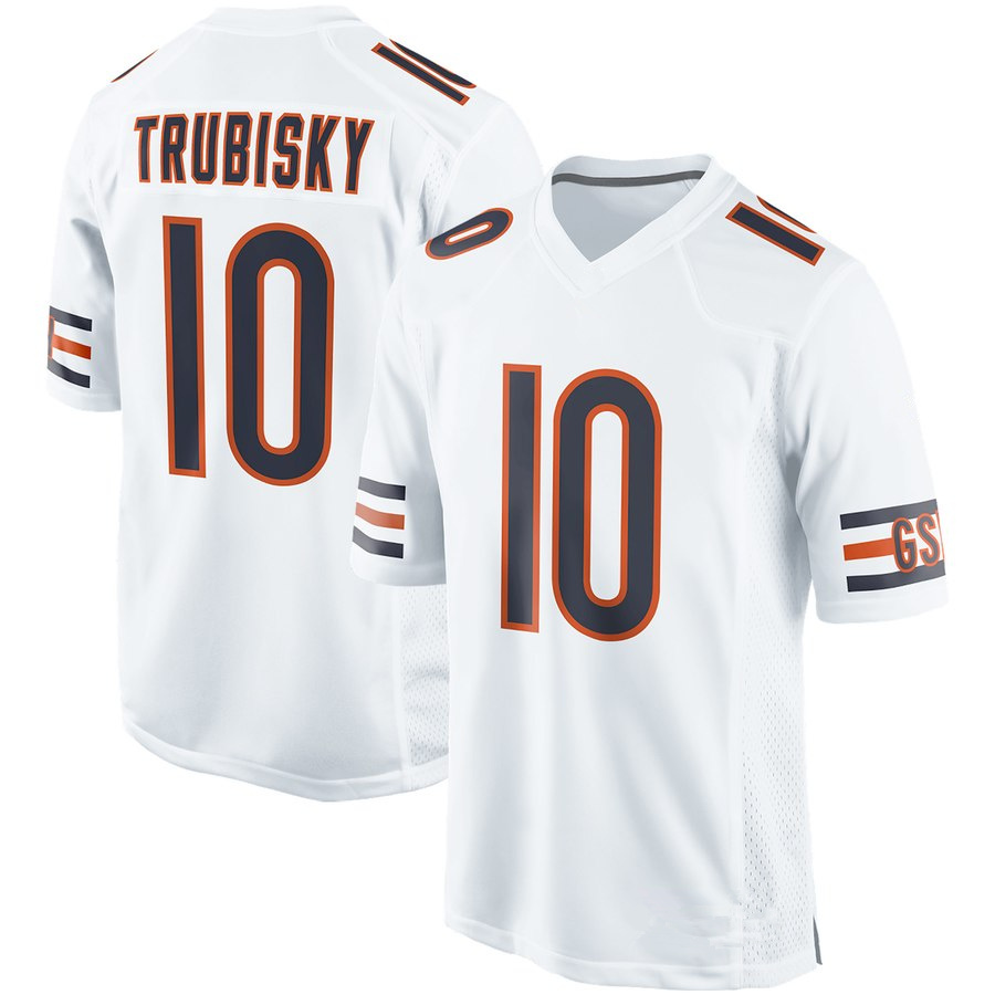 Men s Chicago Bears  10 Mitchell Trubisky White Football Jersey ... a5808f20d