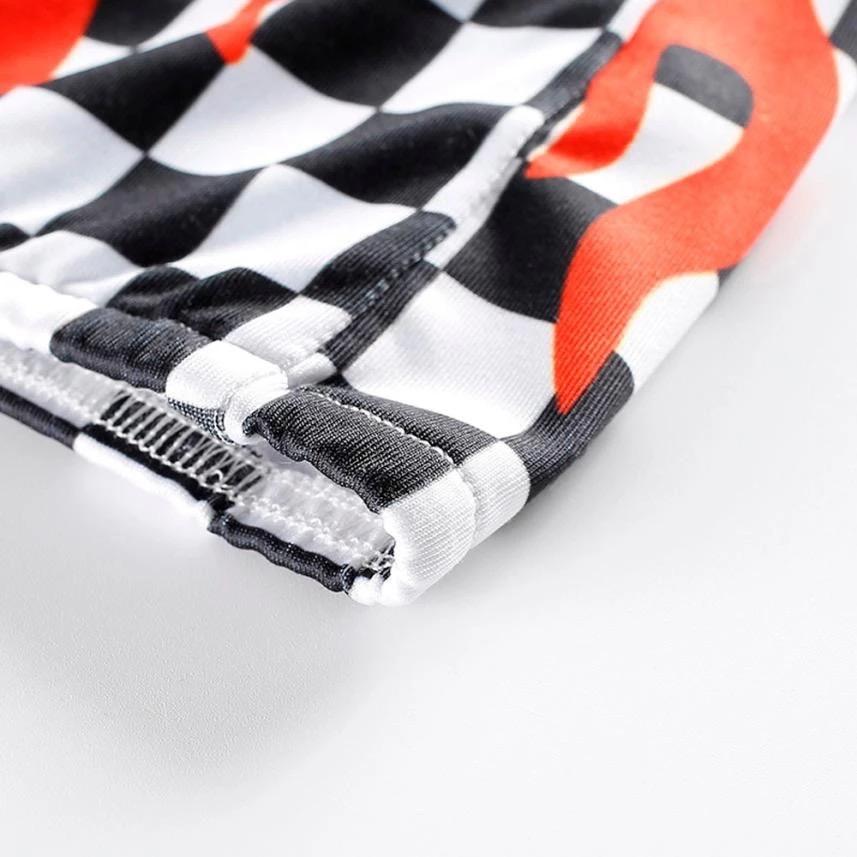 2744c7ab02 Flame Checkered Print Bandeau Crop Top · Cute IO · Online Store ...