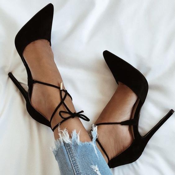 Black Lace-up Heels Women Shoes, FS116