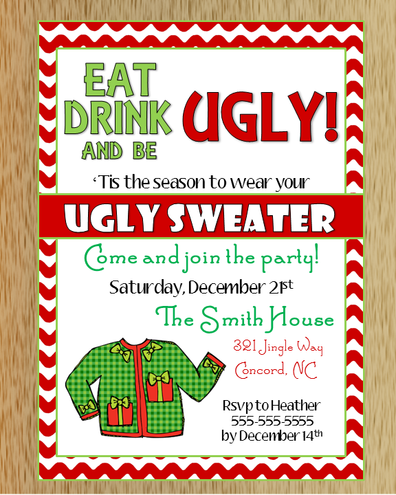 Ugly Christmas Sweaters Patterns.Ugly Christmas Sweater Invitation 2 Sold By Macanne Designs