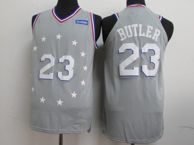 8ac02b01598 Men s Philadelphia 76ers 23 Jimmy Butler Gray 201819 Player Basketball -  Icon City Edition