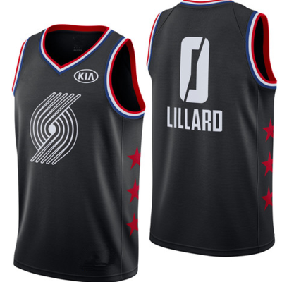 271164ba09f Men s portland trail blazers 0 damian lillard black 2019 all-star game  finished swingman basketball