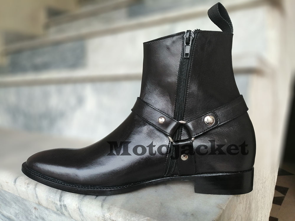 Handmade men black ankle boots, men leather boots, formal boot for men