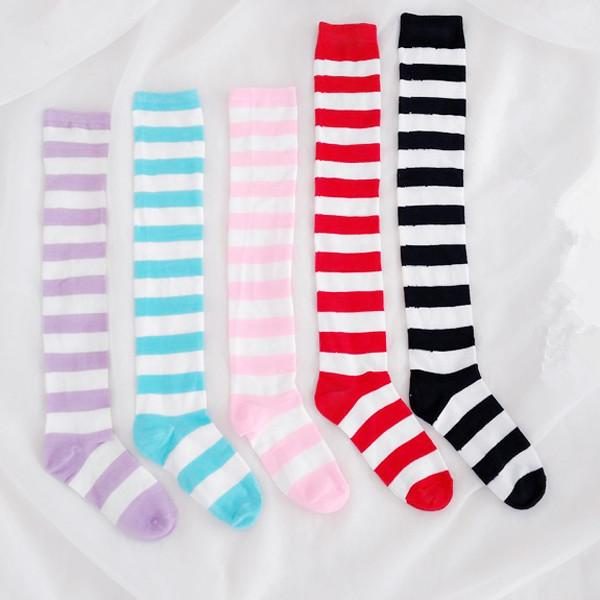 d116ba3e0a5593 Pinky Color Stripes Pants Socks · shopmeiding · Online Store Powered ...