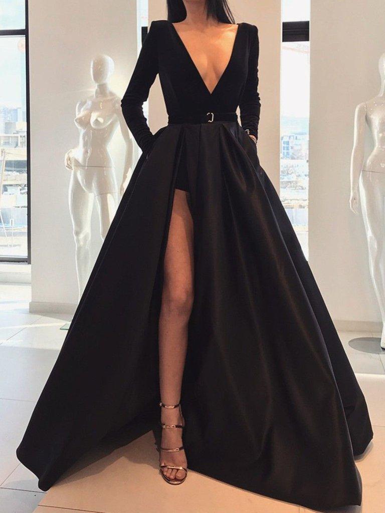 da24bd62d Custom Made A Line Deep V Neck Black Long Sleeves Prom Dresses With Leg Slit,  Black V Neck Long Sleeves Formal Evening Dresses on Storenvy