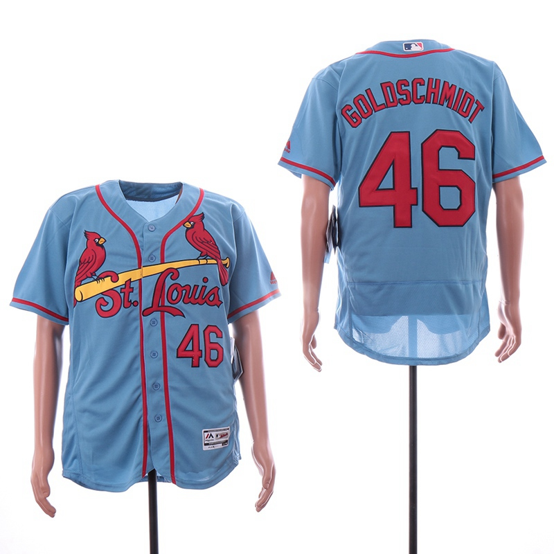 detailed pictures 9c8a2 a0448 Men's St. Louis Cardinals #46 Paul Goldschmidt Jersey Light Blue Flex Base  Jerseys from Asoprt