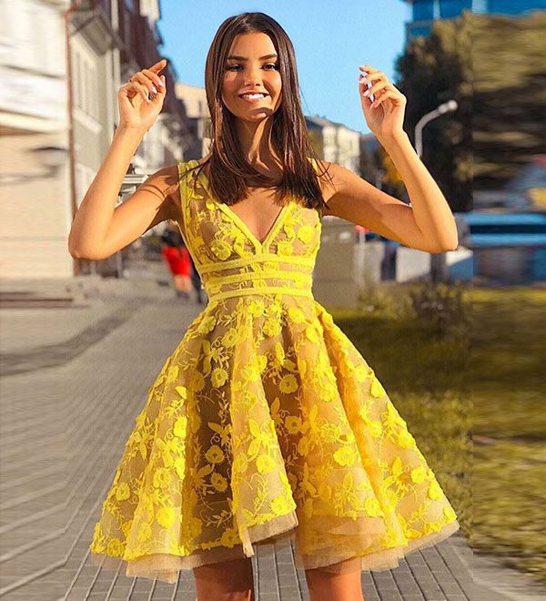 7ce80d43a831 Cute yellow v neck lace short prom dress, homecoming dress · Dream ...