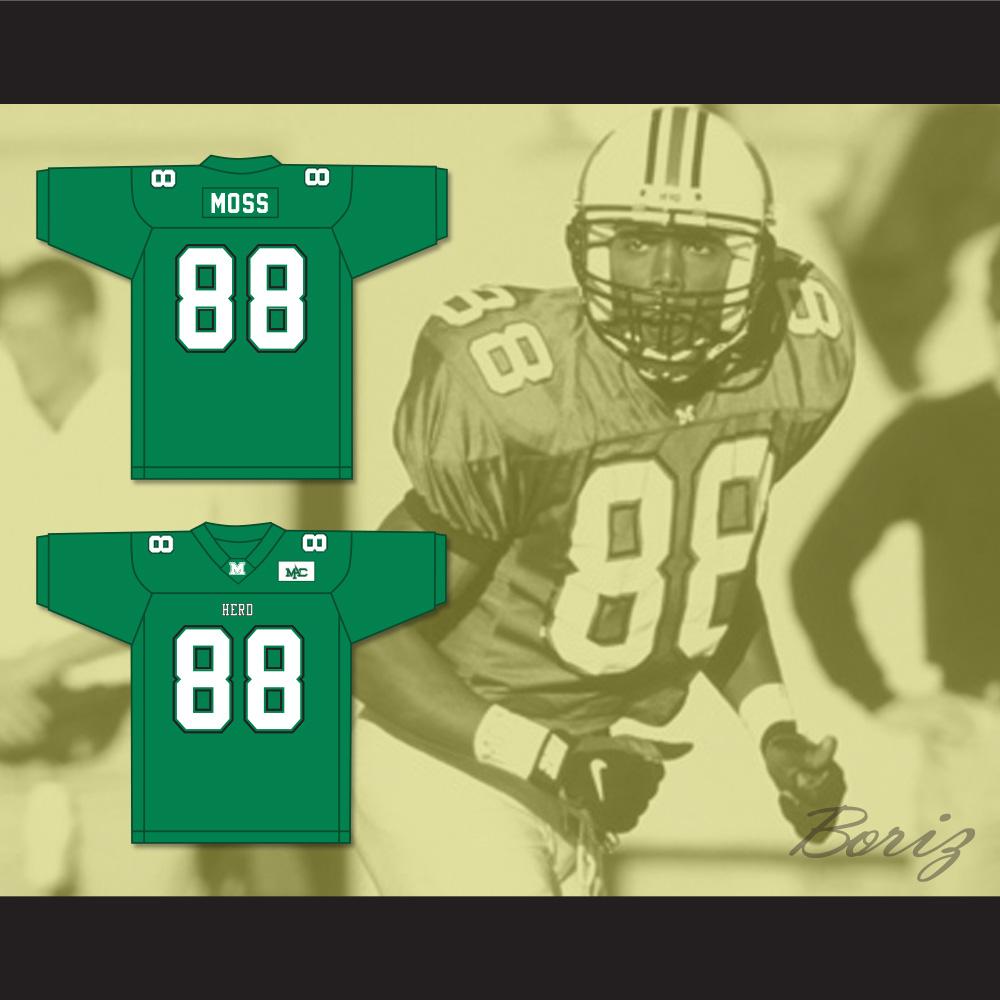 the latest b3d22 dfc6a Randy Moss 88 Marshall Herd Green Football Jersey from acbestseller