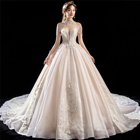Champagne See Through Wedding Dresses High Neck Short Sleeve