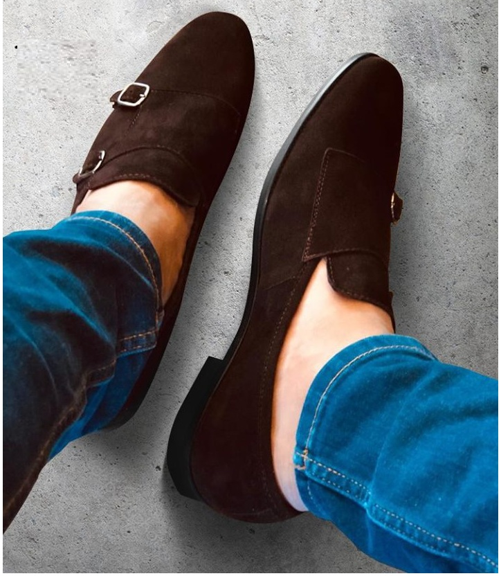 Handmade Men Chocolate brown color formal double monk Shoes, Men classic  Brown dress shoes from Rangoli Collection