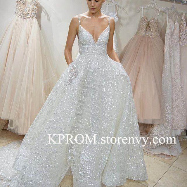Sparkling Spaghetti Straps V Neck Glitter Wedding Dress A Line Bride Dress Kprom Online Store Powered By Storenvy,Mother Of The Bride Dresses For Beach Wedding Uk