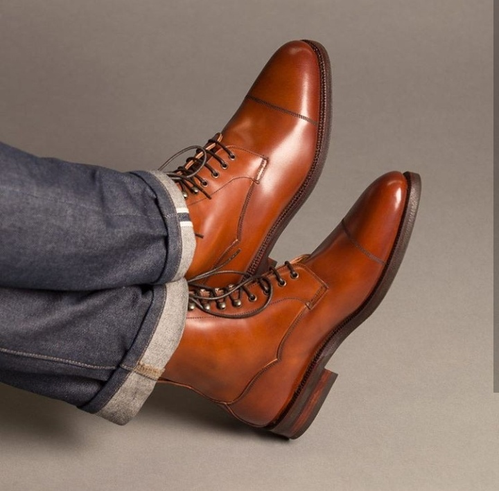 Men Tan Color casual Leather ankle
