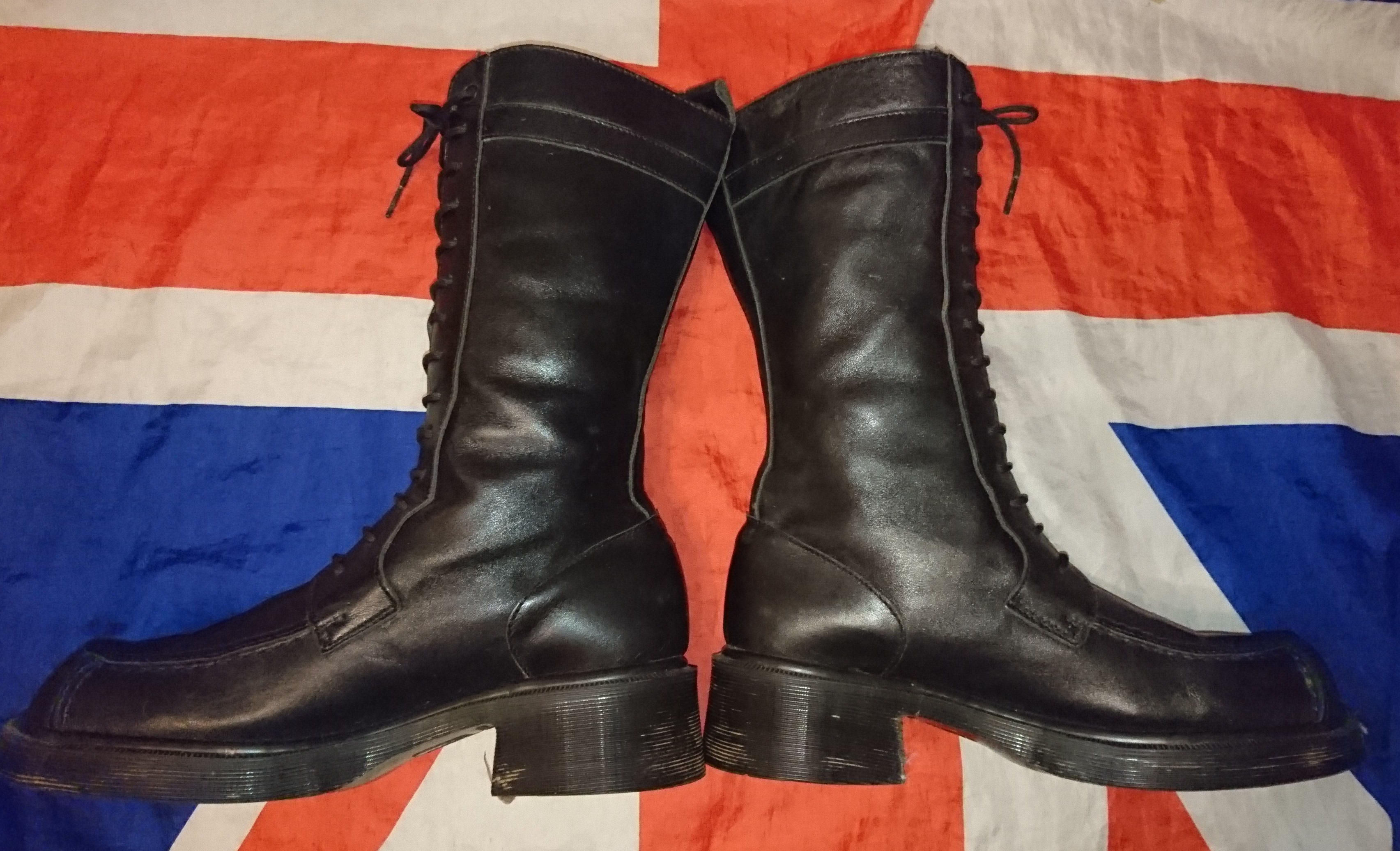 c413a6ed3 ... England Vintage - Chunky Heel Calf High Dr Doc Martens Biker Boots - UK  8* ...