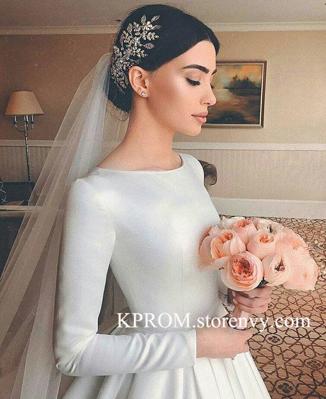 Elegant Wedding Dress Long Sleeve Wedding Dress Simple Satin Wedding Dresses Kprom Online Store Powered By Storenvy,Plus Size Dresses For Wedding Guest Summer
