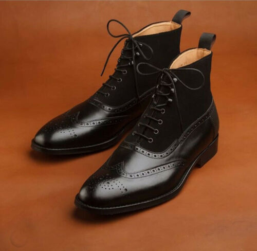 mens black leather brogue boots